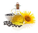 Sunflower oil in bottle with seeds and f