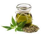Hemp oil n a glass jar isolated on a whi
