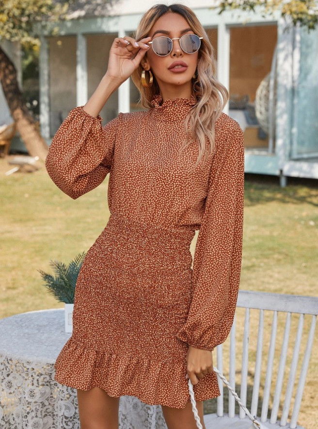 Rust Fttted Patterned Dress.jpg
