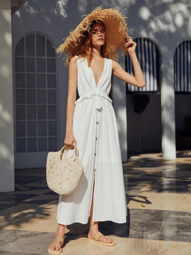 V Neck Boho Textured White Dress