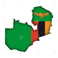 Zambia map & flag