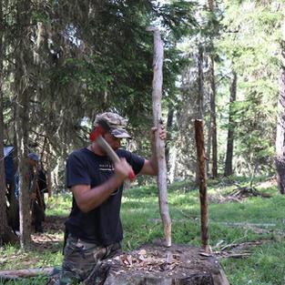 Coupe de bois hache