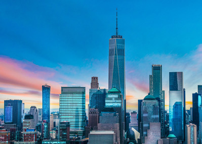 architectural and aerial photograph, commercial buildings and city skyline sunrise, new york, new york