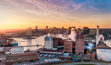 architectural and aerial photograph, commercial buildings and city skyline twilight, baltimore, md