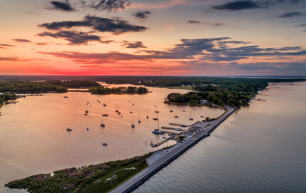 architectural and aerial photograph, landscape, gibson island, marina, maryland, sunset