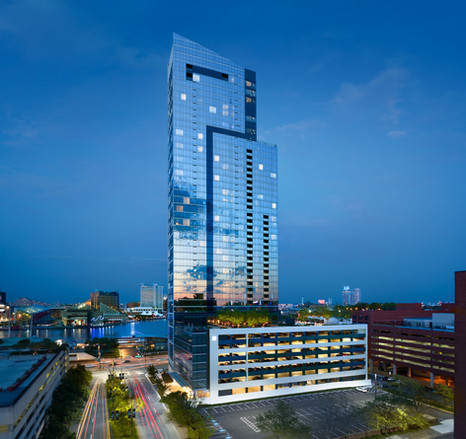 commercial architectural photograph, commercial building twilight, baltimore, md