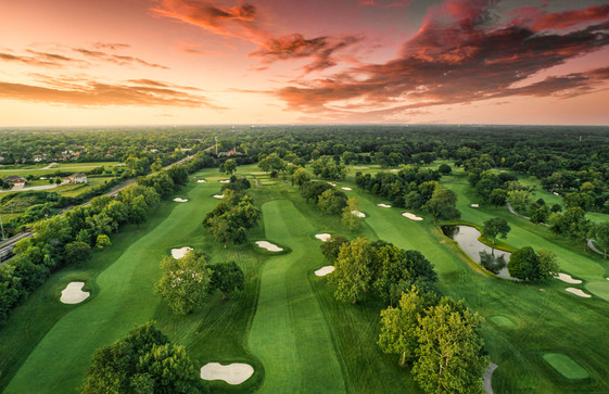 architectural and aerial photograph, golf course, sunset, olympia fields cc, IL