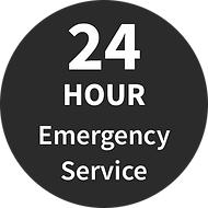 black square with text 24 hour emergency service
