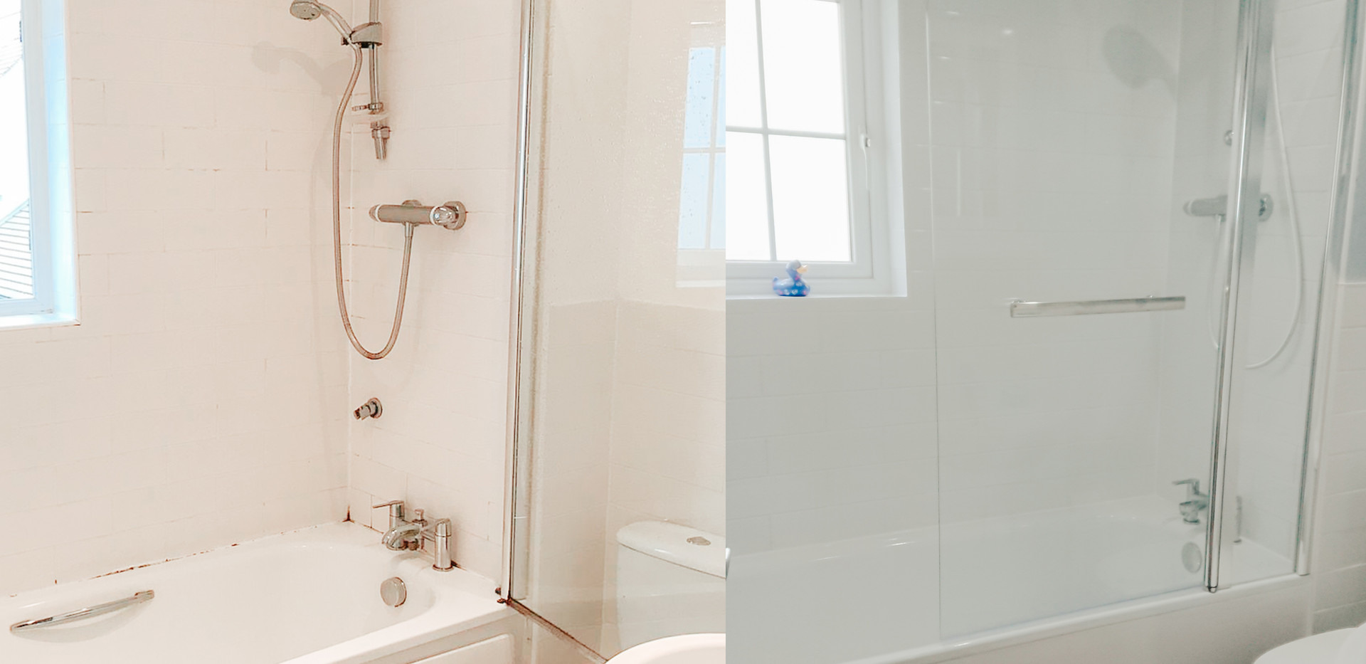 old bathroom refurbished in white and grey