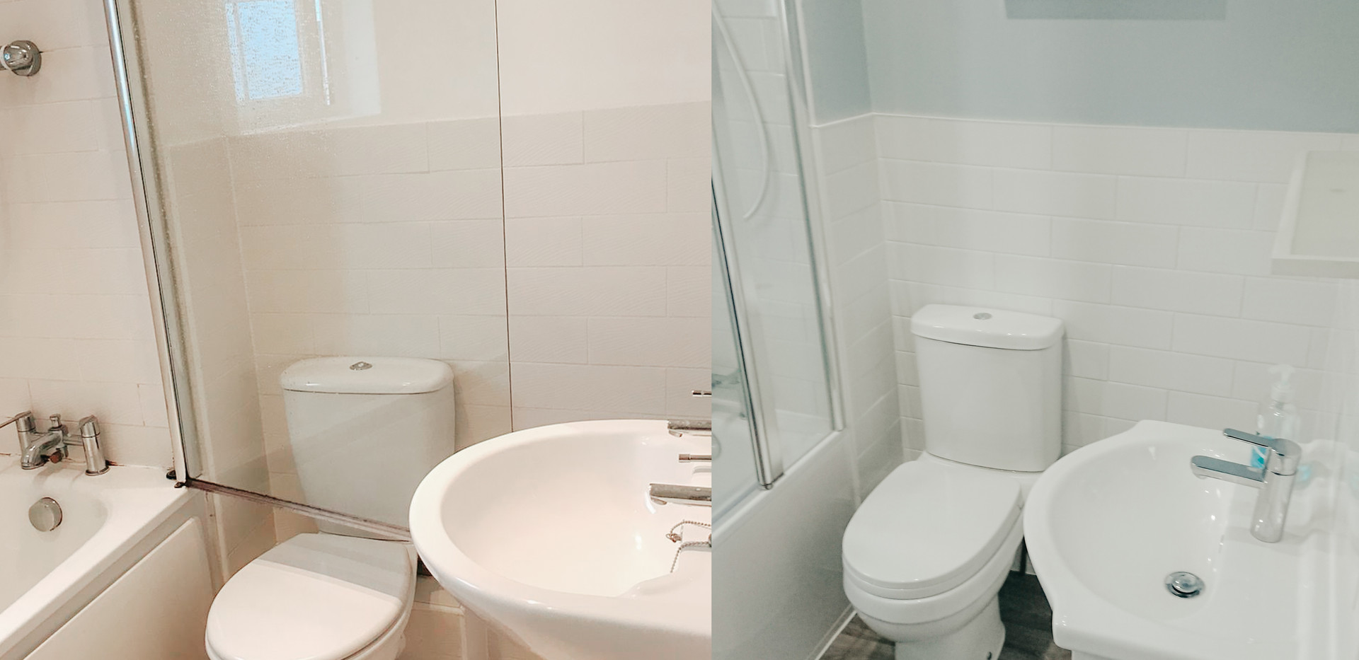 old bathroom suite refurbished in white grey and blue