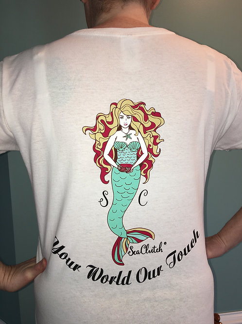 SeaClutch White V-Neck T-Shirt