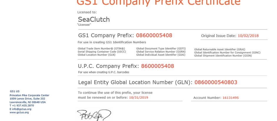 Getting a GS1 Company Prefix for the SeaClutch