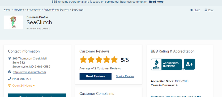 Buy With Confidence!  SeaClutch Has an A+ BBB Rating!
