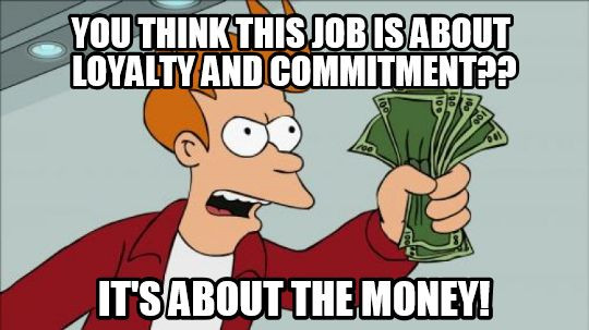 Funny meme about jobs and money