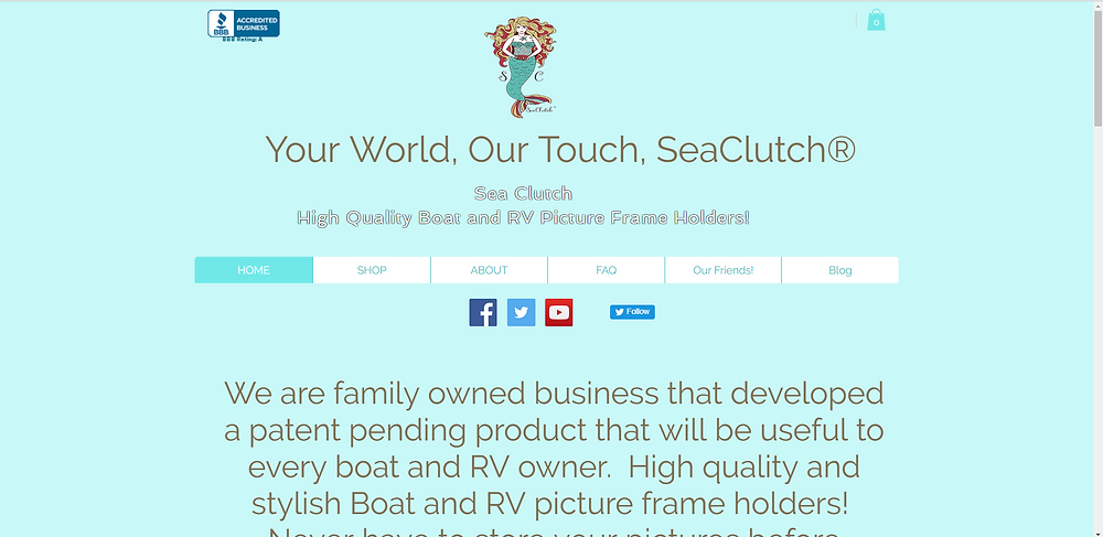 BBB Rating for the SeaClutch RV and Yacht Picture Frame Holder Website