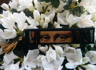 Вышитая закладка Мона Лиза, схема, МК