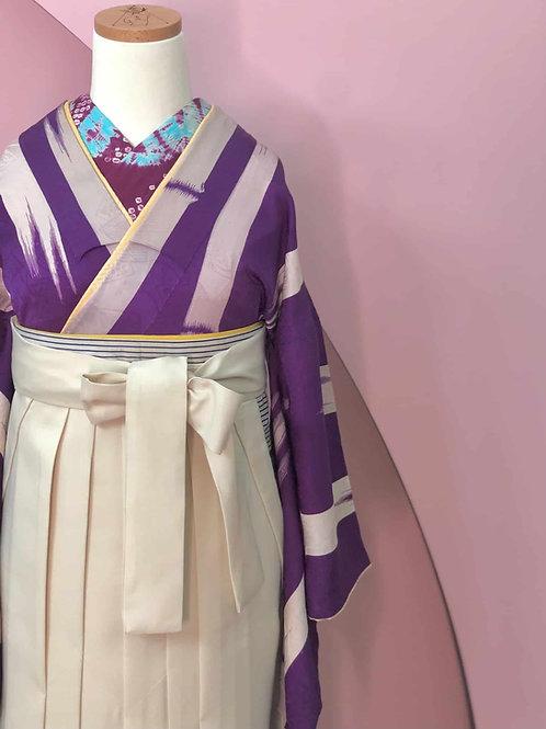 Antique 本紫に竹文様お着物&袴