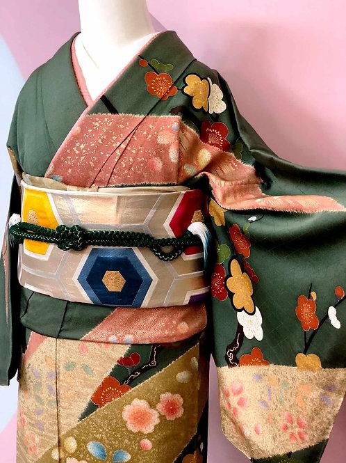 桜と梅模様のお着物
