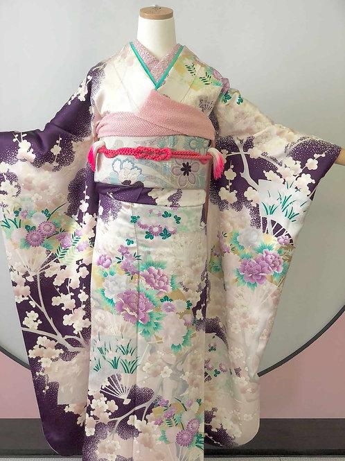 Vintage 紫紺に薄桜 牡丹 振袖