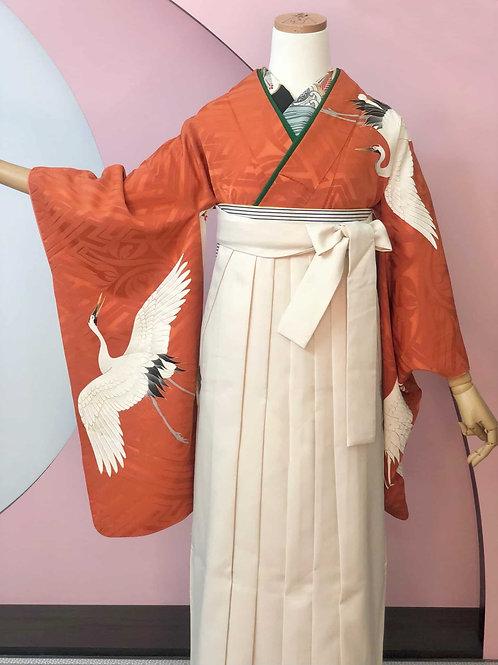 Antique 海老茶色 紗綾形地模様に鶴お着物&袴