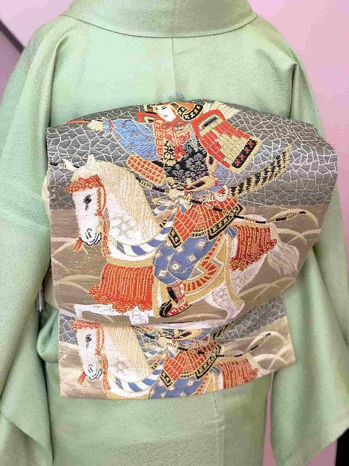 一ツ紋付 柳色無地着物 & Antique袋帯