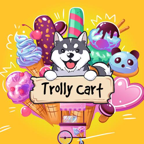 Trolly Cart - Blue Raspberry Slushie + Skittles + Gummy Bears + Fizzy Pop Rocks