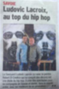 Article de press le daufiné,emprunt(e)e de Ludovic Lacroix, danseur et chorégraphe de AS2DANSE compagnie chamberienne, créee en 2006 danse hip hop,