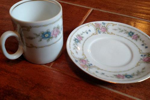 Mini Medallion Porcelain Tea Cup and Saucer