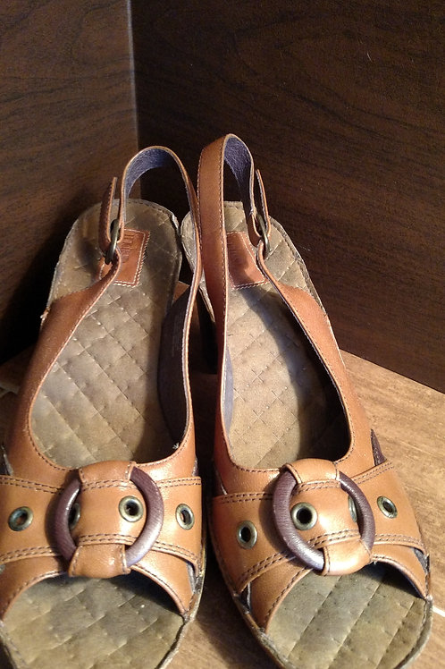 Nice Indigo Brown Leather Women's Heels Size 8.5