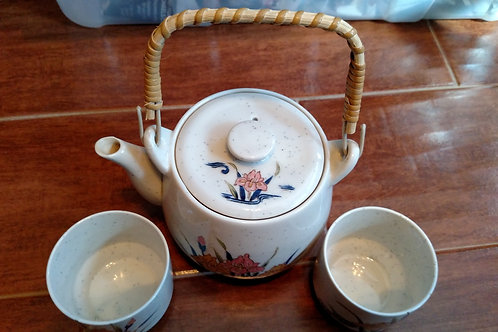 Vintage Toyo Japanese Teapot with Bamboo Handle and Two Cups