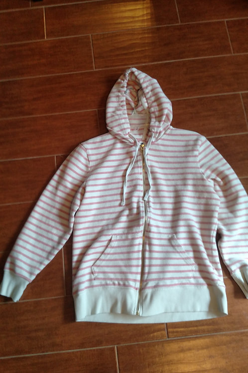 Nice Pink & White Striped Old Navy Zip Up Hoodie Size L