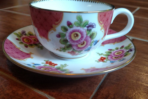 Mini Worcester Flowers China Tea Cup and Saucer