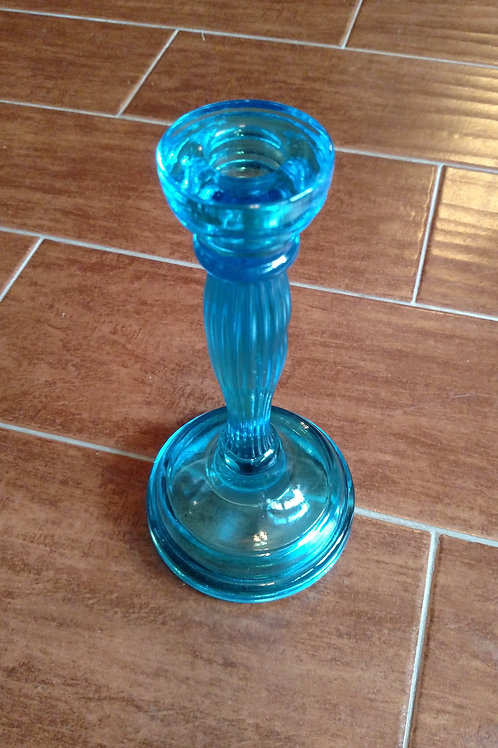 Vintage Fosteria Light Blue Glass Candlestick Holder