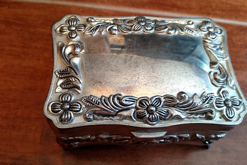 Vintage Silver Jewelry Box with Velvet Lining