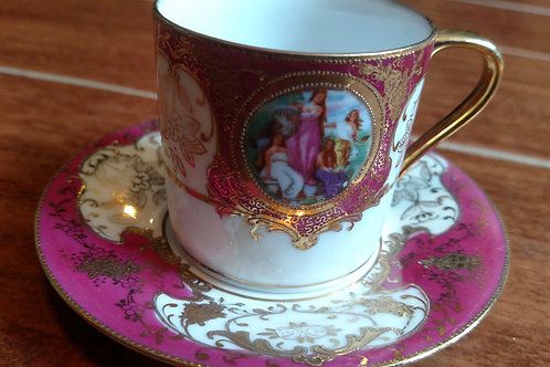 Mini Chubu Chinese Hand Painted Tea Cup and Saucer
