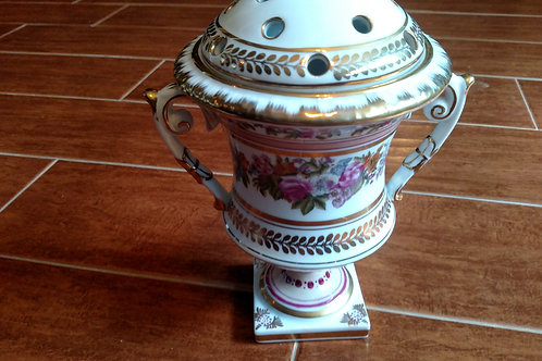 Beautiful Vintage Hand Painted Vase with Lid and Handles