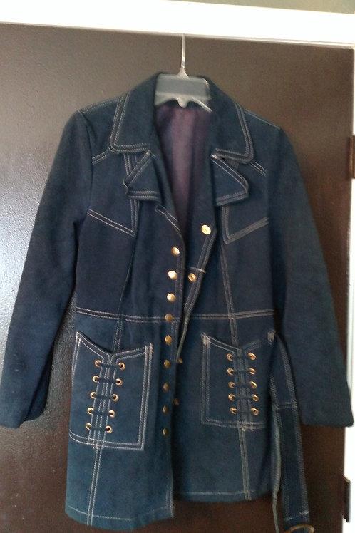 Vintage Blue Leather Jacket with Belt Size 12