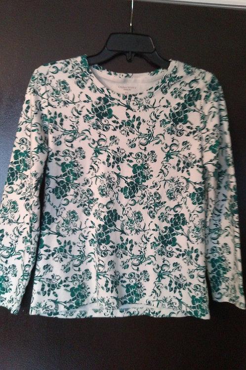 Nice Green and White Laura Scott Long Sleeve Women's Shirt Size Small