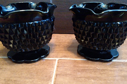 Vintage Black Glass Candle Stick Holders Set
