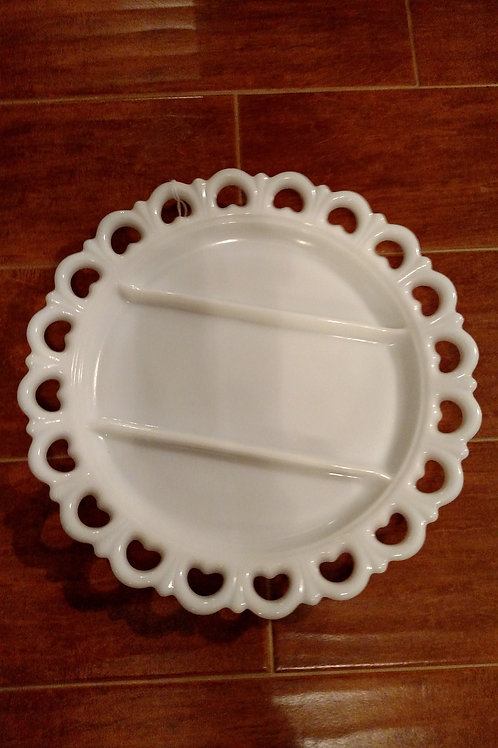 Milk Glass Relish Dish Plate