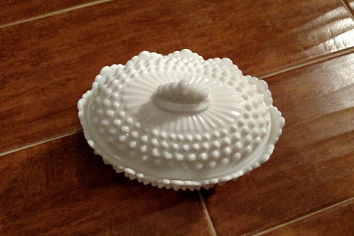 Vintage Milk Glass Hobnail Oval Footed Sugar Bowl with Lid
