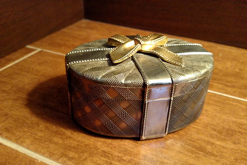 Vintage Metal Bow Box with Red Velvet Lining