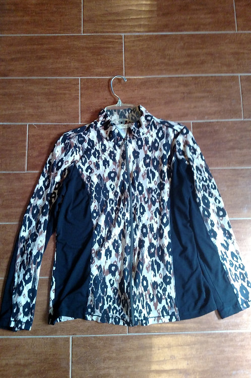 Nice Laura Ashley Blue Leopard Print Active Wear Zip Up Jacket Size M