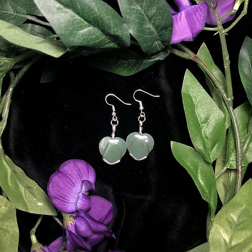 Aventurine Heart Earrings