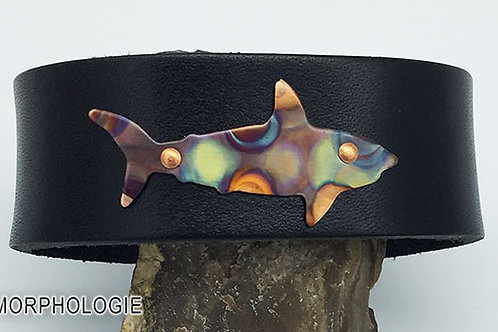 OOAK copper shark leather bracelet size 7.5 black