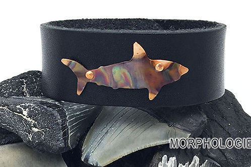 OOAK copper shark leather bracelet size 8 black