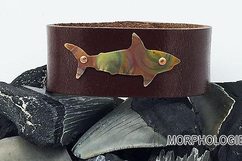 OOAK copper shark leather bracelet size 7 medium brown