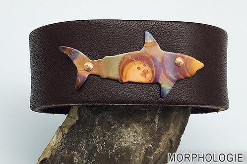 OOAK copper shark leather bracelet size 7 Havana brown