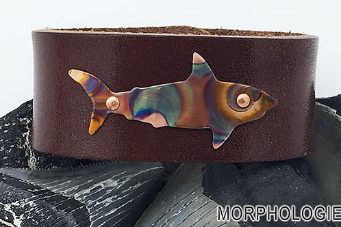 OOAK copper shark leather bracelet size 6.5 medium brown