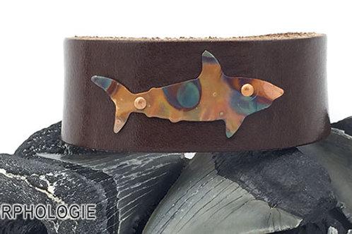 OOAK copper shark leather bracelet size 7 brown